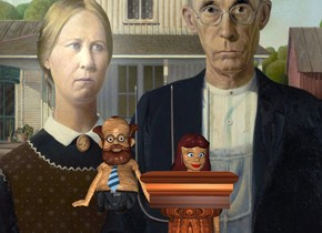 the [grantwood] backdrop. the woman is to the right of the small man. the [wood] texture is on the head of the man. it is 5 inches wide. the [wood] texture is on the woman. it is 5 inches wide. the man is 3 feet above the bottom of the woman. the hair of the woman is brown. the wood pedestal is in front of the woman. it is 4 feet high. the [wood] texture is on the shirt of the man. it is 5 inches wide. the [wood] texture is on the hand of the man. it is 5 inches wide.