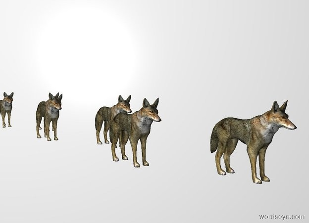 Input text: THE WHITE BACKDROP. 2nd wolf is 1 feet southeast of 1st wolf. 3rd wolf is 1 feet southwest of him. 4th wolf is 1 feet southeast of him. 5th wolf is 1 feet southwest of him. 6th wolf is 1 feet southeast of him. 7th wolf is 1 feet southeast of him.