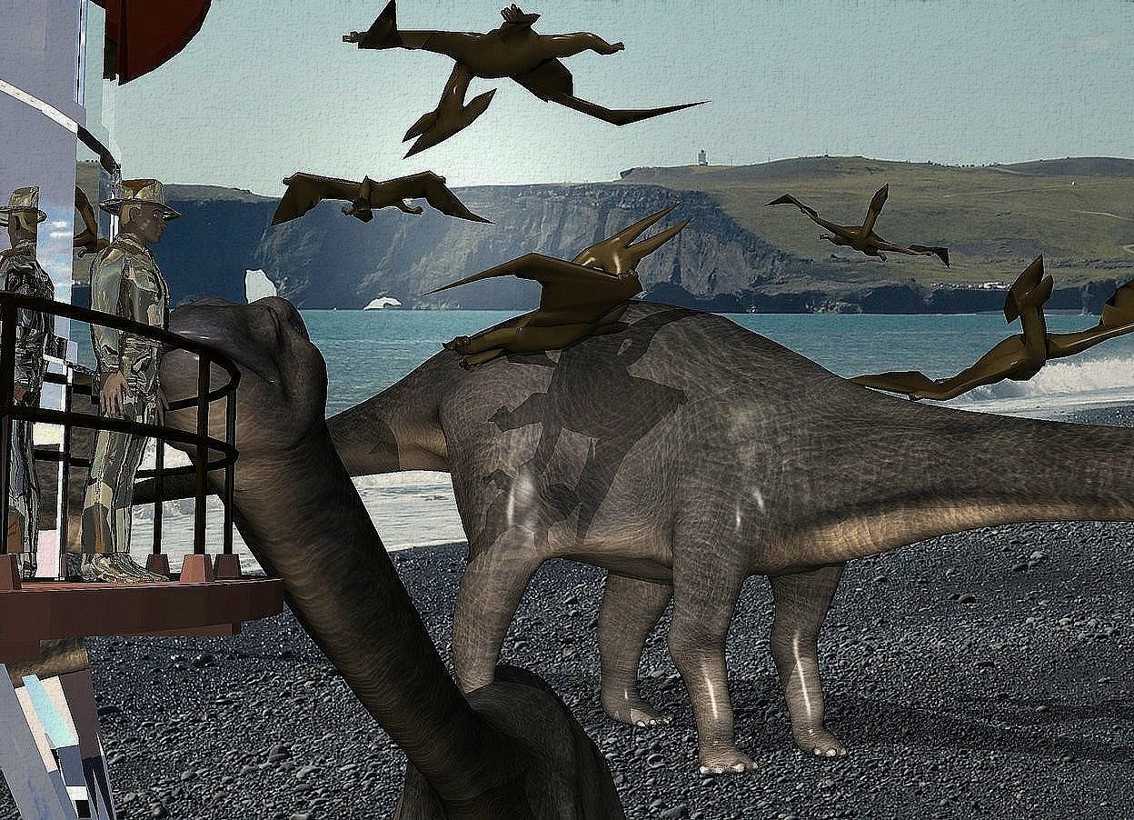 Input text: A dark gold man is -2.5 feet right of and -16 feet above a large silver tower. He is facing east. A huge dark pterodactyl is 100 feet behind and 35 feet above the tower. It is facing northwest. It is upside down. A huge dark pterodactyl is 10 feet right of and -50 feet above the pterodactyl. It is leaning right. A huge dark pterodactyl is 10 feet left of and -20 feet above the pterodactyl. It is facing east. It is leaning back. A large dark pterodactyl is 5 feet right of and -10 feet above the pterodactyl. It is leaning left. A large dark pterodactyl is 30 feet left of and 10 feet in front of the pterodactyl. It is upside down. A huge diplodocus is 10 feet behind and -157 feet above the tower. It is leaning back. A huge diplodocus is 25 feet behind the tower. It is facing southeast. The azimuth of the sun is 200 degrees. The sun is cream. Camera light is grey. A cream light is above and in front of the man.
