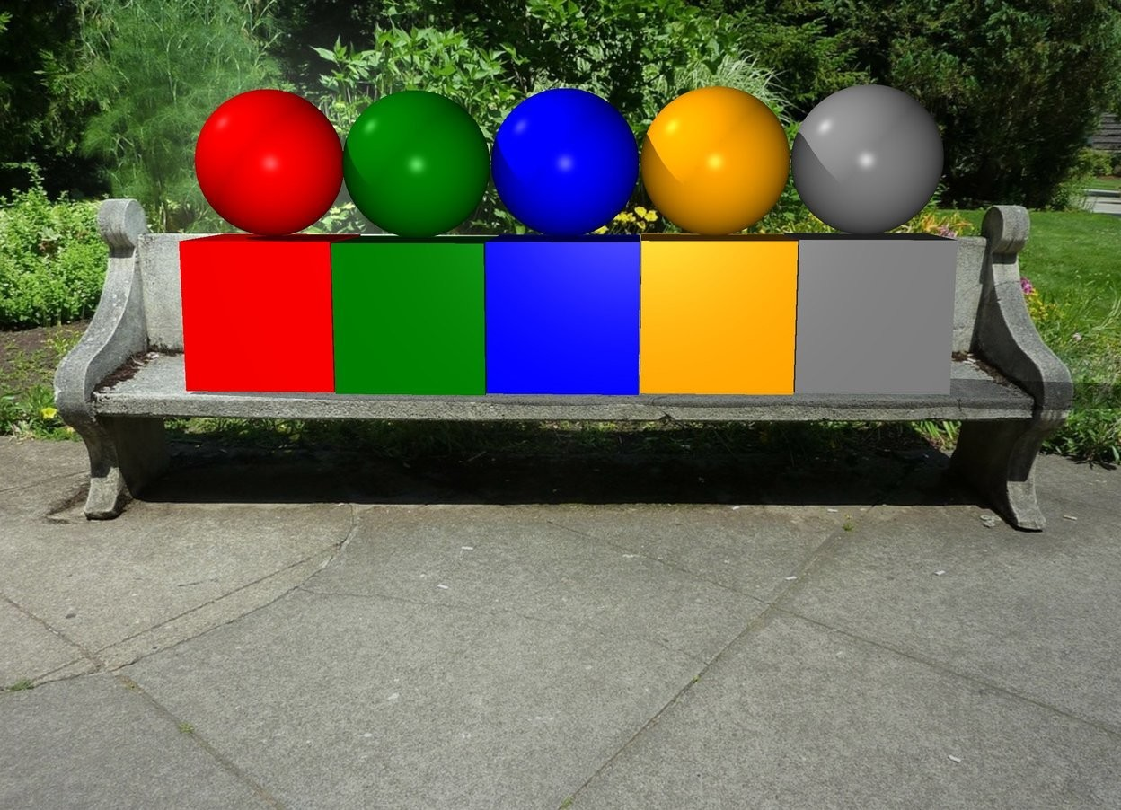 Input text: The  bench  backdrop. a red cube is to the left of a green cube. a blue cube is to the right of the green cube. on top of the red cube there is a red sphere. on top of the green cube there is a green sphere. on top of the blue cube there is a blue sphere. to the right of the blue cube there is a orange cube. on top of the orange cube there is a orange sphere. to the right of the orange cube there is a gray cube. on top of the gray cube there is a grey sphere.