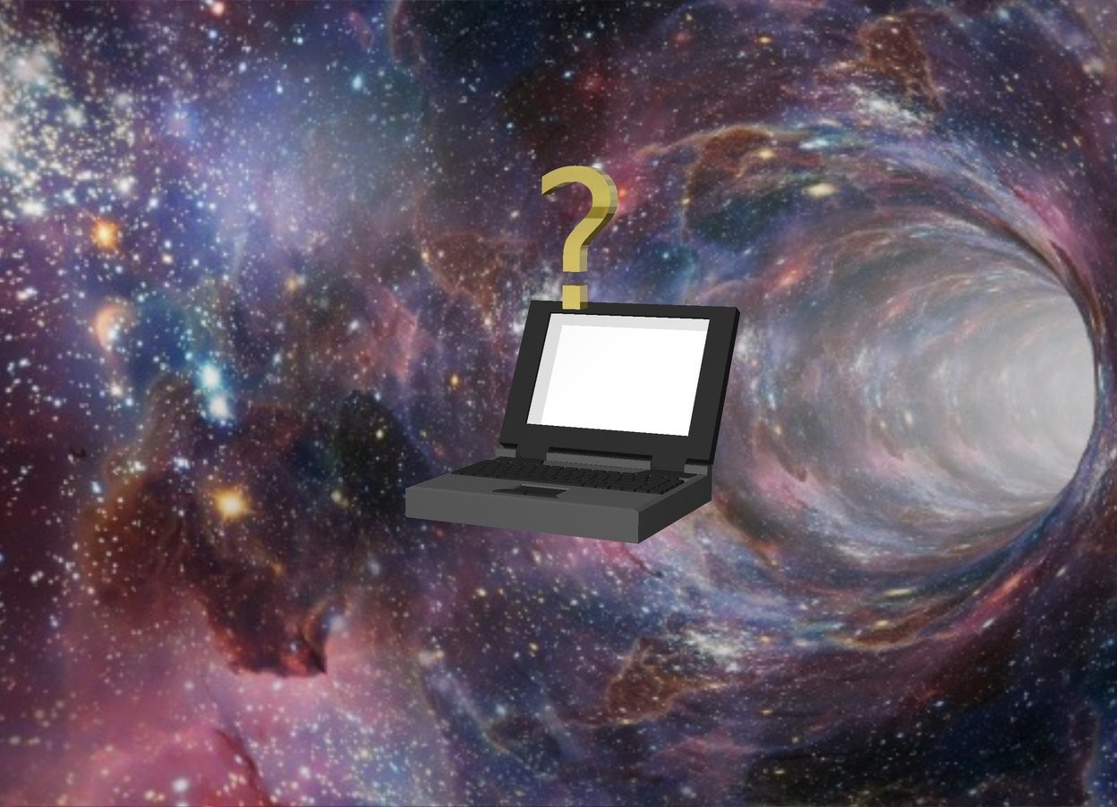 Input text: The  image  backdrop. a laptop. a small gold question mark above the laptop.