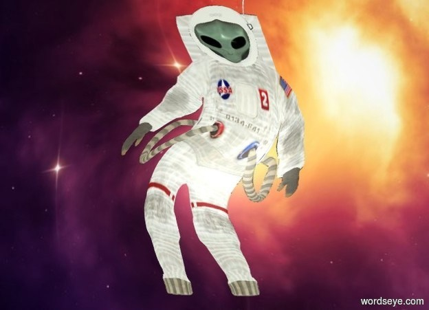 Input text: a flat astronaut is in front of and -10 feet above and -10 feet right of a big space wall. the astronaut's visor is clear. gray backdrop. a 4 foot tall and 2.5 foot wide dull pale green alien is -.64 feet behind and -5.1 feet above the astronaut. the alien leans 35 degrees to the front. sky.