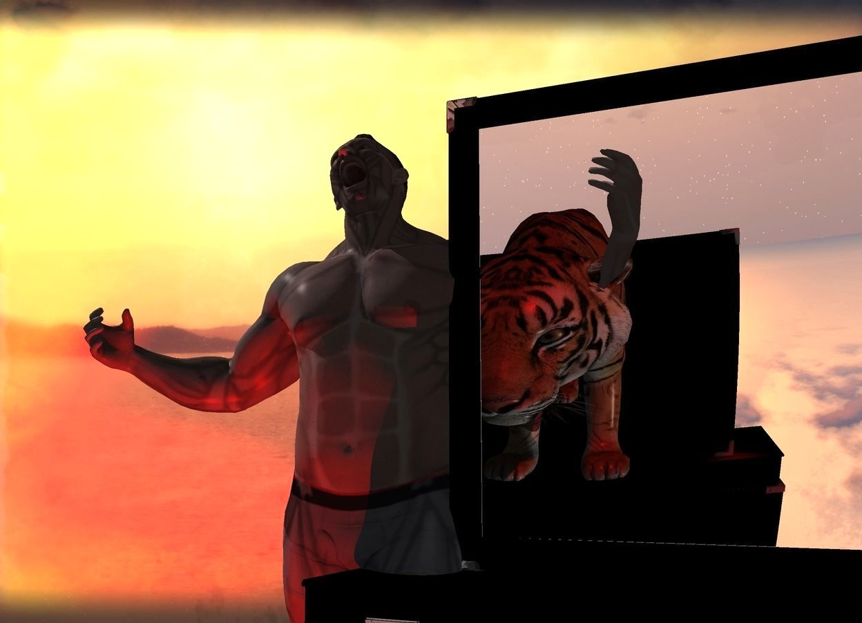 Input text: A shiny dresser. Backdrop is storm. A man is -2 feet left of and -1 foot behind the dresser. A 50% dark tiger is 4 feet in front of and -2 feet above the dresser. It is facing north. It is upside down. Camera light is black. A red light is in front of and left of the dresser. Backdrop is 40% shiny. A large dresser is in front of the tiger. It is upside down.
