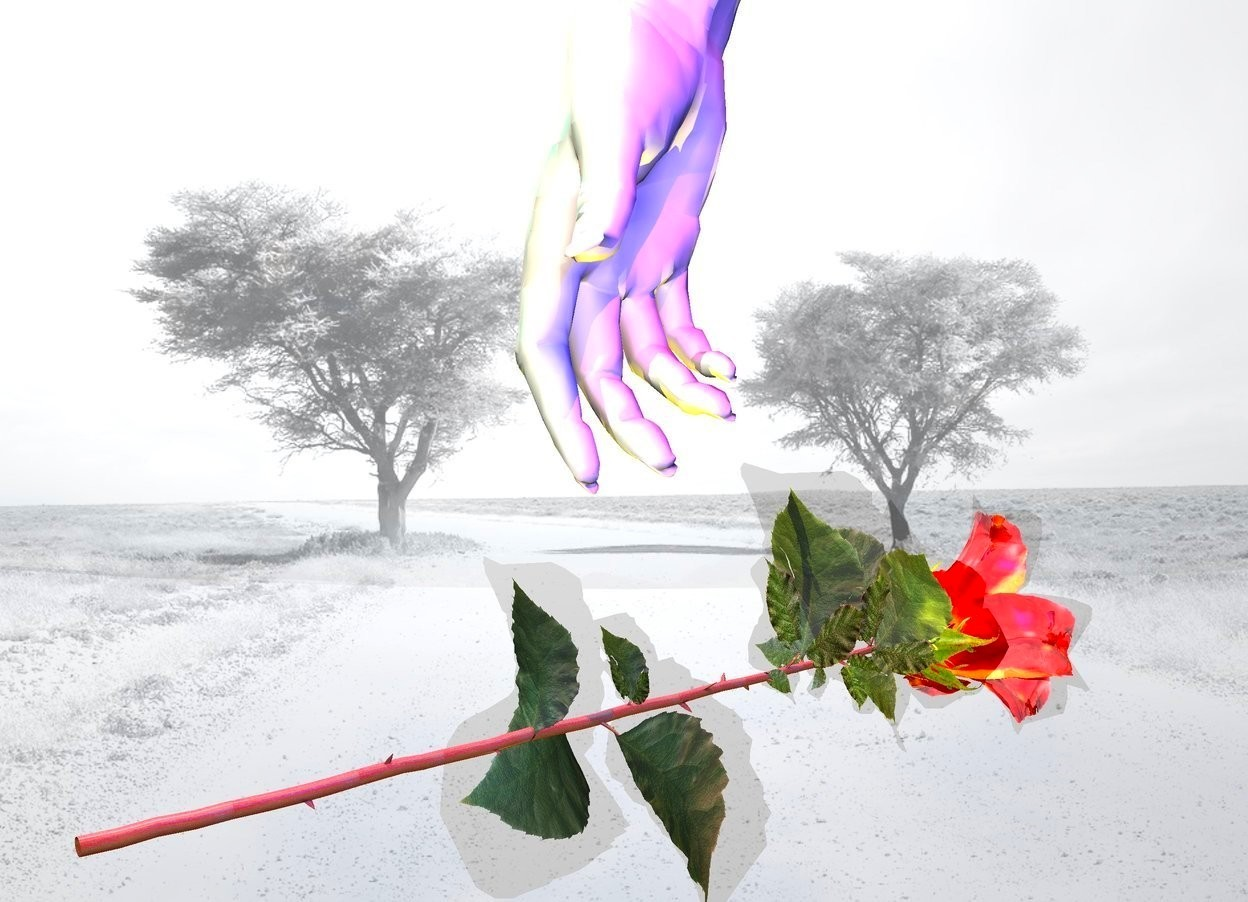 Input text: a rose.it is face up.snow backdrop.a baby pink hand is above the rose.a red light is left of the hand.a blue light is right of the hand.a thyme green light is in front of the hand.a cyan light is above the red light.a rust light is above the blue light.a yellow light is beneath the hand.the rose's petal is shiny.