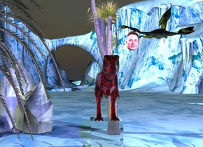 The sky is dark. The ground is iceland blue. There is a huge glass cube 1 centimeter above the ground. A small red hairy glass t-rex is standing on the cube. A gold hairy glass pterodactyl is 1 meter above and right of the t-rex. A bright blue light is 3 meters above the cube and 3 meters in front of the cube. A bright white light is 3 meters right of the cube and 3 meters above the cube. A tree is 1 meter to the left of the cube. A giant tree is 1 meter behind the cube. A gigantic crystal is 2 meters behind and 2 meters left of the cube. A large head is 1 meter behind and 1 meter above and 1 meter right of the t-rex.