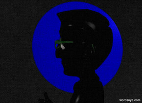 sky is black.ground is invisible.a 45 inch tall flat  blue sphere.a 120 inch tall black man is -125 inch above the sphere.the man is in front of the sphere.the man is facing west.the hair of the man is black.the shirt of the man is black.the necktie of the man is black.camera light is gray.