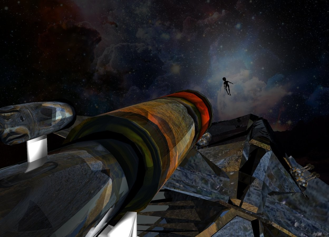 Input text: A clear telescope. Dark backdrop. A shiny black spaceship is 20 feet in front of and -20 feet above the telescope.  It is leaning right. Mountain sky. An alien is -7 feet above and -16 feet right of and in front of the spaceship. The alien is leaning left.