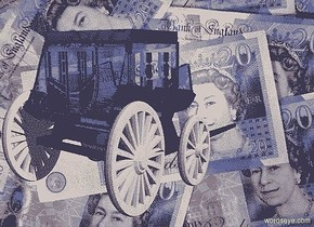 a [pd] backdrop.a 30 inch tall and 30 inch wide and 45 inch deep clear  delft blue  stagecoach.the wheel of the stagecoach is clear white.camera light is 40% dim old gold.