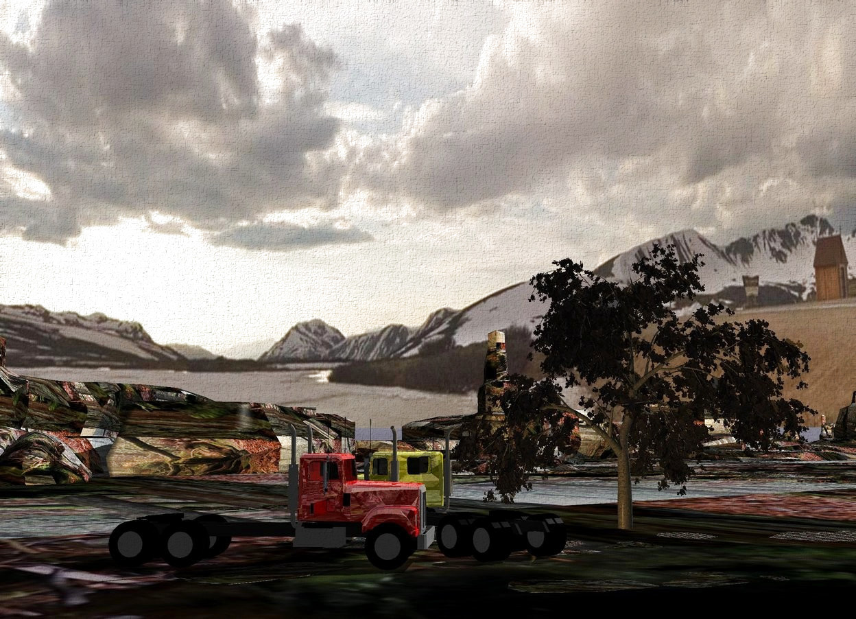 Input text: The ground is 200 feet wide log. A huge dark tree. Camera light is black. An amber light is right of the tree. A shiny yellow truck is 10 feet right of the tree. A shiny red truck is right of the truck. It is facing northwest.