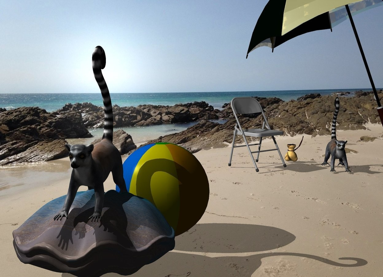 Input text: A lemur is -2 inch above a huge 50% dark [sand] clam. Camera light is black. A light is above and left of the lemur. A large 30% dark shiny lemon umbrella is 4 feet behind and right of the clam. It is leaning right. A small 50% dark chair is -2 feet left of the umbrella. It is facing southeast. A bag is right of and behind the chair. The azimuth of the sun is 260 degrees. A 70% dark lemur is 1 foot right of the chair. A small 50% dark beach ball is behind and -1.2 foot right of the clam.