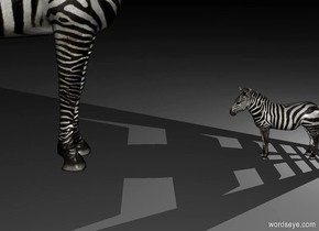an air vent. it is night. a light is .2 feet behind and -1 feet above the air vent. a 1st tiny zebra is in front of the air vent.  a 2nd zebra is in front of the 1st zebra. it faces back.