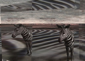 a very small zebra is behind a large clear cube. ground is [zebra]. sky is [zebra]. ground is visible. ground is 100 feet deep. a tiny light is above and -.1 foot in front of the zebra. a big light is 5 feet right of the zebra.