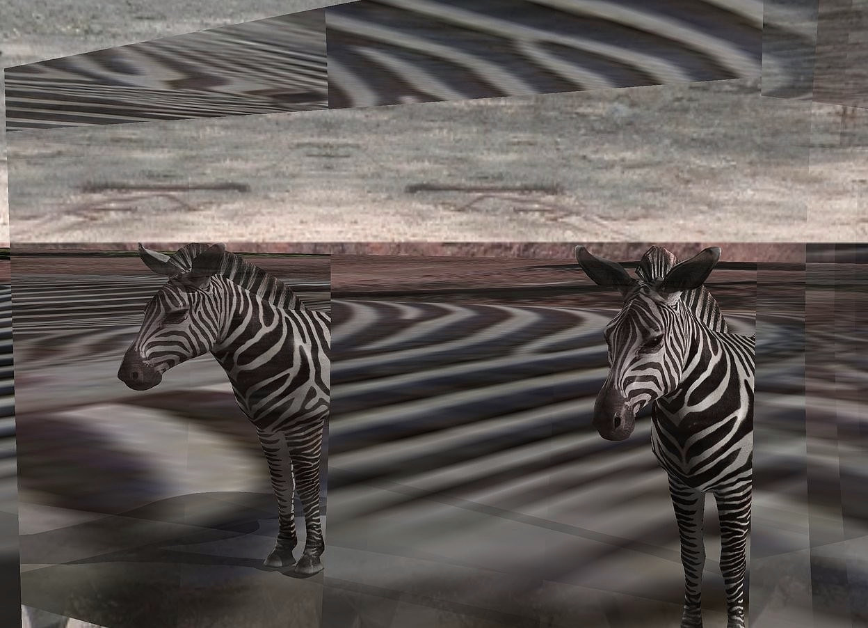 Input text: a very small zebra is behind a large clear cube. ground is [zebra]. sky is [zebra]. ground is visible. ground is 100 feet deep. a tiny light is above and -.1 foot in front of the zebra. a big light is 5 feet right of the zebra.