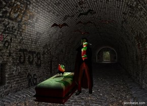a vampire.tunnel backdrop.a large bat is above the vampire.a green light is in front of the bat.a stone coffin is left of the vampire.ambient light is black.invisible shadow plane.a red light is 2 feet in front of the vampire.a black light is right of the vampire.camera light is black.a linen light is above the bat.a chicken is on the coffin.