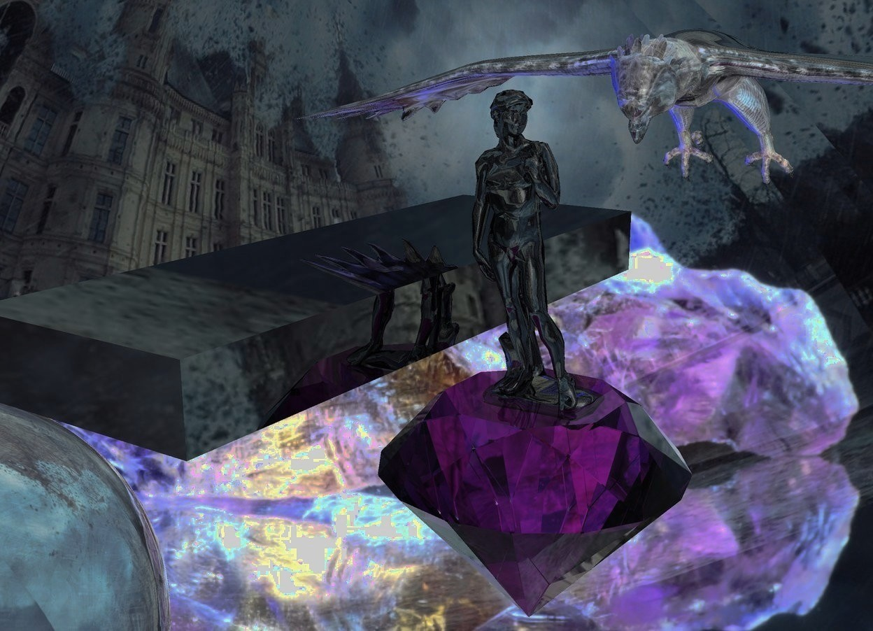 Input text: A 5 inch high black shiny monument is -0.6 inch above a huge purple diamond. 50% shiny gemstone backdrop. Sky is 6500 feet wide storm. It is leaning forward. A 6 inch high shiny eagle is 2 inch behind and -4 inch above the monument. It is leaning 55 degrees to the front. A huge clear sphere is behind and -7 feet above and 4.5 feet left of the eagle. 10 navy lights are above and right of the sphere. A 4 inch wide shiny black plank is -4 inch above and left of the monument. The azimuth of the sun is 40 degrees. The altitude of the sun is 70 degrees.