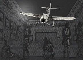a [nn] backdrop.sky is white.a 23 inch tall 70% dim shiny [dirt] airplane.