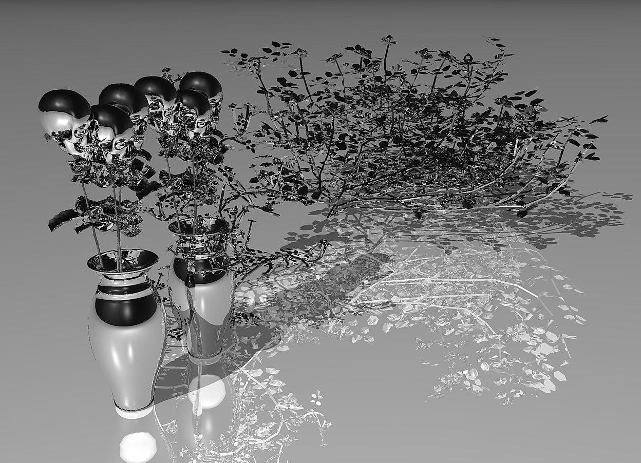 Input text: four 100 inch tall silver roses.sky is black.ground is visible.ground is shiny.