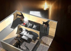 A 20% shiny room is in a large room. A small 10% shiny room is -7 feet above the room. Camera light is black. An amber light is above and in front of the room. A small giraffe is behind and left of the room. A small giraffe is behind and right of the room. A small elephant is -6 feet in front of the room. It is facing north.