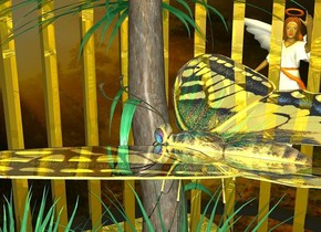 a clear dna. a 2 foot tall tree is behind the dna. its leaf is sea green. a 2 foot wide and 2 foot deep and .03 foot tall yellow lake is -1 foot above the tree. a 1st 1 foot tall and 1 foot wide and 1 foot deep shiny gold cage is -.95 feet above the tree. it is evening. a huge gold light is -.3 feet above the cage. shadow plane is invisible. a .8 foot tall angel is 1 foot left of the tree. the angel is 1 foot above the ground. a very shiny butterfly is .05 feet beneath the gold light. the angel faces the dna.