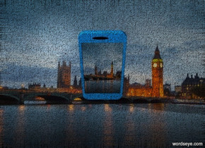 a [city] backdrop..a 30 inch tall petrol blue mobile phone.the mobile phone leans 0 degrees to right.the display screen of the mobile phone is [city].