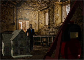A dolls house is in a room. Camera light is black. A 40 feet high man is 15 feet right of and 25 feet behind and -30 feet above the house. A humongous dark brown swing is 50 feet in front of and -20 feet right of the man. A 40 feet high figure is 40 feet in front of and right of the man. A light is in front of and right of the figure.