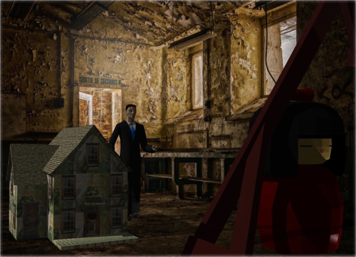 Input text: A dolls house is in a room. Camera light is black. A 40 feet high man is 15 feet right of and 25 feet behind and -30 feet above the house. A humongous dark brown swing is 50 feet in front of and -20 feet right of the man. A 40 feet high figure is 40 feet in front of and right of the man. A light is in front of and right of the figure.