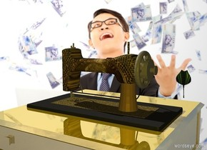A money machine is 4 inch in a gold table. A mint leaf is right of and -1 foot above the machine. Bank backdrop. Sun is silver. Camera light is gold.