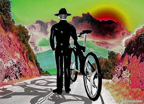 a 100 inch tall  bicycle.the bicycle is black.a 130 inch tall cowboy is -23 inch right of the bicycle.the cowboy is black.