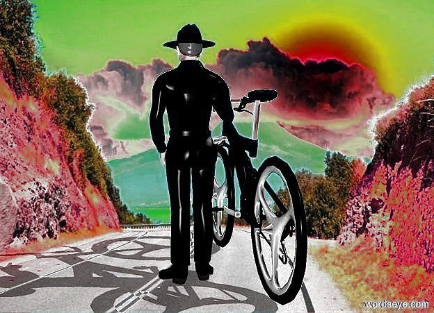 Input text: a 100 inch tall  bicycle.the bicycle is black.a 130 inch tall cowboy is -23 inch right of the bicycle.the cowboy is black.