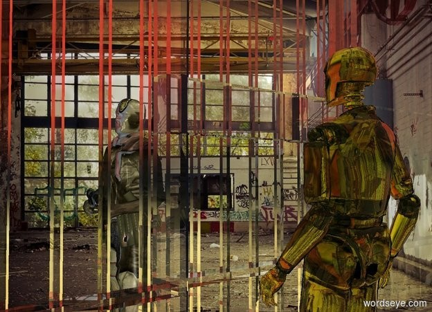 Input text: a clear olive man.a ball and chain is -9 inches right of the man.a clear white jail is -5 feet behind the man.factory backdrop.[abstract] sky.a 6 feet tall soldier is in front of the jail.