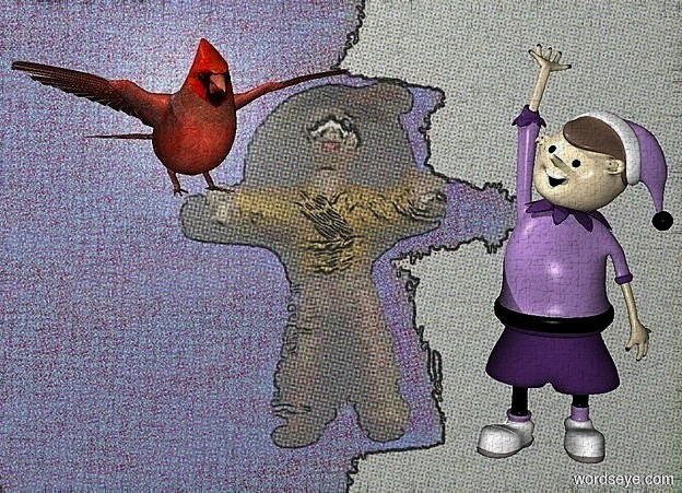 Input text: a [tt] backdrop.a 18 inch tall elf.a 7 inch tall cardinal is 5 inch left of the elf.the cardinal is facing southeast.the cardinal is -7 inch above the elf.