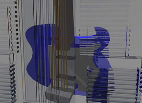 a 100 inch tall and 150 inch wide and 150 inch deep blue shiny guitar.the guitar leans 90 degrees to left.a 200 inch tall clear white flat hotel is in front of the guitar.sky is gray.ground is invisible.