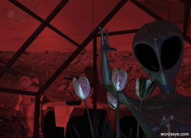 Input text: A buggy is 10 feet behind and -4 feet left of a 50% dark red greenhouse. It is facing southeast. An astronaut is -4 feet above the buggy. A large astronaut is behind and 1.5 feet left of the buggy. He is leaning right. A large 30% dark 20% shiny alien is -3 feet behind and -5 feet right of the greenhouse. Camera light is black. A navy light is in front of the alien. A light is in front of the buggy. An enormous shiny plant is -6.5 feet above and -2 feet left of the alien. A green light is left of the alien.