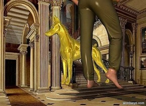 a woman is in a room.the woman is facing north.a gold dog is left of the woman.