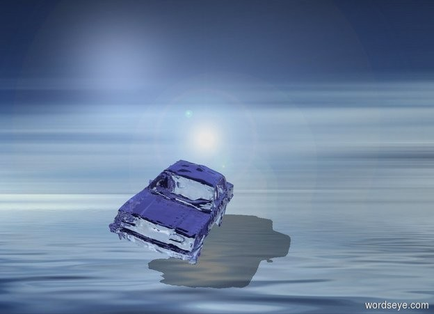 Input text: The glass car is in the ocean. the car is leaning 15 degrees to the left