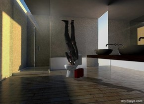 A businessman is upside down. He is in a 10% shiny toilet. Bathroom backdrop. Camera light is black. A light is left of and in front of the businessman. A small maroon bag is right of the toilet. It is facing west.