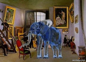 a [atelier] backdrop.a 25 inch tall clear delft blue elephant.the elephant is facing southwest.