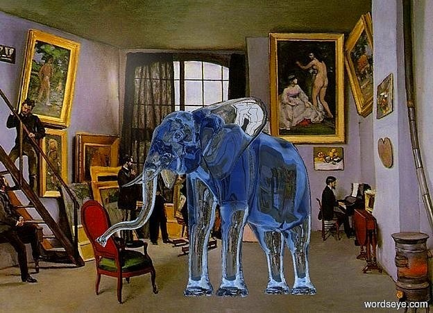 Input text: a [atelier] backdrop.a 25 inch tall clear delft blue elephant.the elephant is facing southwest.