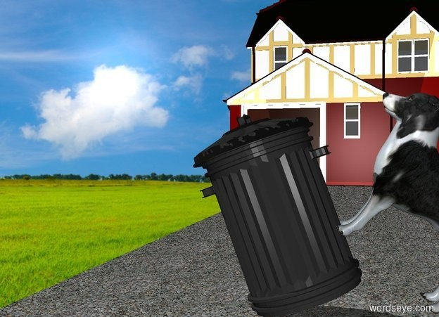 Input text: a garbage can is on a driveway. a house is behind the driveway. the can leans to the right. a border collie is -1.2 foot right of the can. it faces the can. it leans 40 degrees to the back.