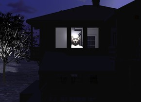 a dark house. a 5 foot tall person is -18 feet in front of and -16 feet above and -16 feet left of  the house. 3 ghost white lights are in front of and .5 foot above the person. camera light is black. a black tree is left of and -10 feet behind the house. its leaf is black. ground is 100 foot wide [dirt]. sun is midnight blue.
