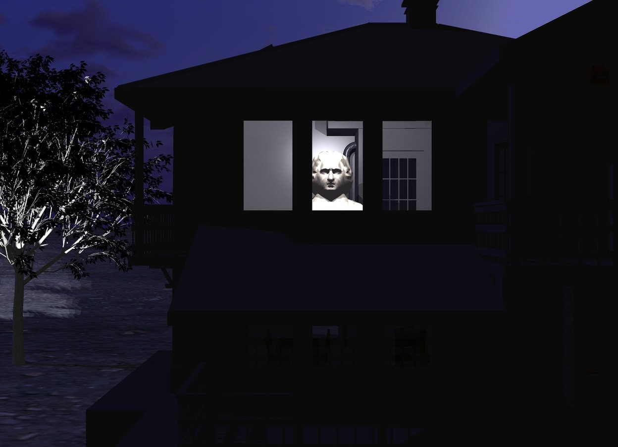 Input text:  a dark house. a 5 foot tall person is -18 feet in front of and -16 feet above and -16 feet left of  the house. 3 ghost white lights are in front of and .5 foot above the person. camera light is black. a black tree is left of and -10 feet behind the house. its leaf is black. ground is 100 foot wide [dirt]. sun is midnight blue.