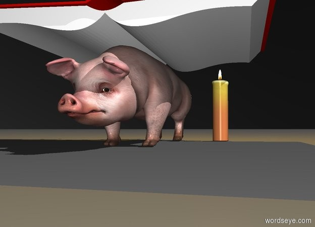 Input text: a 100 inch tall book.the book is leaning 90 degrees to the front.sky is  black.ground is visible and gray.a 40 inch tall and 30 inch wide and 150 inch deep pig is -50 inch above the book.the pig is facing north.a shadow plane.a 10 inch tall green headwear is on the book.the headwear is facing northeast.the headwear is -20 inch in front of the book.a 40 inch tall candle is 10 inch  left of the pig.the candle is -30 inch in front of the pig.a 50% dim  orange light is 70 inch above the candle.