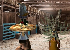 Horse backdrop. A pizza is on a black shiny hat. The hat is on a woman. A light is left of and 4 feet above and in front of the woman. A light is 3 feet in front of the woman. A bell is on the pizza. A pattern bowl is in the bell. A bottle is in the bowl. A banana is in the bottle. It is facing east. A duck is in the banana. The sun is silver. The azimuth of the sun is 0 degrees. An amber woman is 3 feet behind the woman. A hat is -7 inch above the woman. A very tiny tree is -2.5 feet above the woman. It is upside down. It is leaning right. Camera light is black.