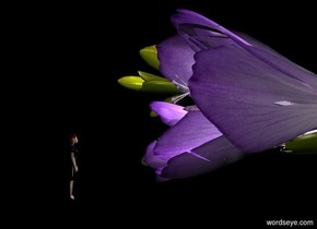 a flower leans 90 degrees to the right.   a lavender light is -6 inches left of  the flower. a .5 inch tall person is .1 inch left of and -2.9 inches behind the flower. she faces the flower. she is .1 inch in the ground. she is shiny. it is night. ground is invisible.  a tiny light is above and right of the person.