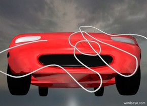 a shiny red car.   ground is invisible. sky is 2500 feet tall and 2000 feet wide. a 1 inch tall gainsboro rope is in front of the car. the rope leans 60 degrees to the front.