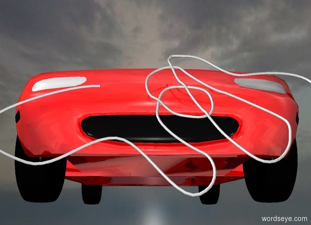 Input text: a shiny red car.   ground is invisible. sky is 2500 feet tall and 2000 feet wide. a 1 inch tall gainsboro rope is in front of the car. the rope leans 60 degrees to the front.