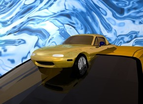 a[abstract]symbol.a gold tiny car  is -7.5 inches above the car.water backdrop.pale shadow plane.