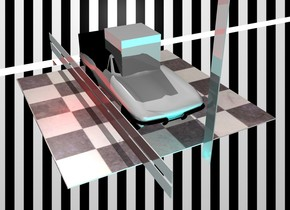 The design backdrop. the car. a magenta glass slab is one foot in front of the car. it is 1 foot above the invisible ground. a cyan glass slab is 3 inches above it. the slabs are 30 feet wide and 1 foot tall. they are 1 inch deep. A very large yellow glass cube is -2 feet above the car. A maroon glass slab is 1 foot wide and 20 feet tall and 1 inch deep. it is 3 feet right of the car. A silver slab is 2 feet wide and 200 feet deep. it is 1 inch tall. it is 3 feet left of the car. the red light is 3 feet in front of the car. the cyan light is 3 feet right of the car. the car is on the checkerboard floor.