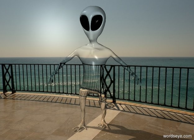 Input text: An alien is balcony