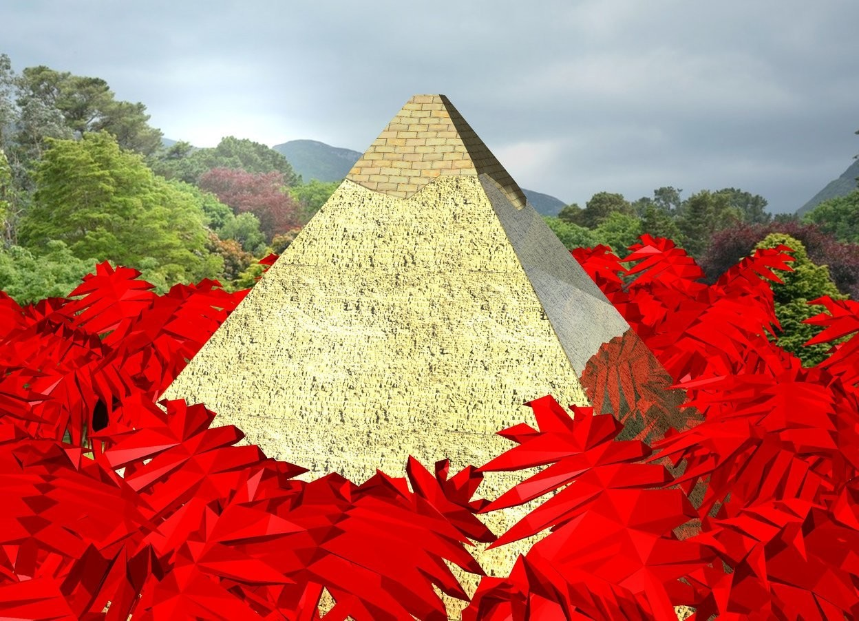 Input text: metal pyramid in a red jungle